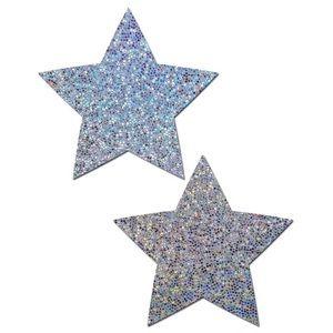 Pastease Silver Glitter Star Nipple Pasties